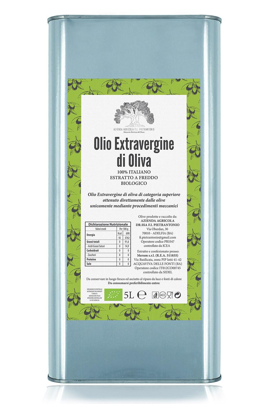 Lattina da 5 litri di olio extravergine d'oliva 100% italiano BIOLOGICO – estratto a freddo