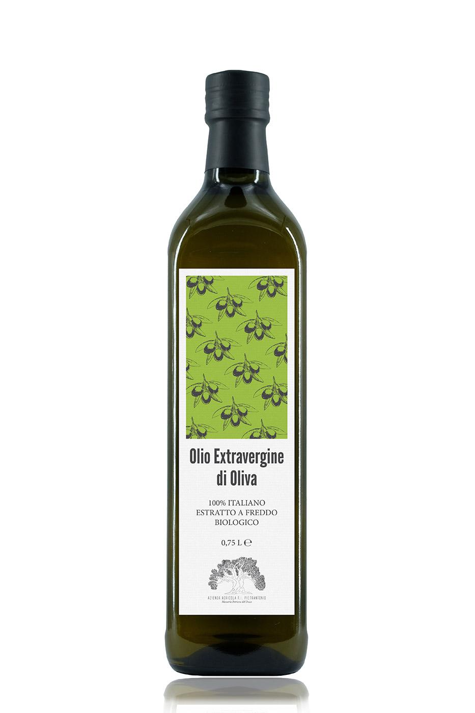 Bottiglia da 0,75 litri  di olio extravergine d'oliva 100% italiano BIOLOGICO – estratto a freddo